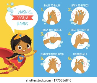Super Hero Gorl shows how to wash your hands step poster Infographic illustration. Poster with african girl shows how to wash hands properly.