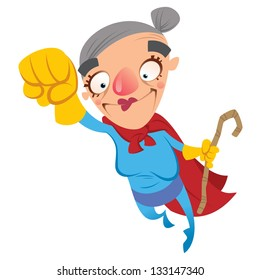 Super hero grandmother flying