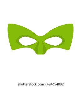 Super hero green mask for face character in flat style. Heroic or savior vector illustration. Photo props.