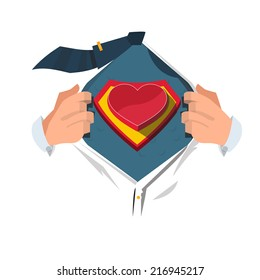 super hero with heart - vector illustration