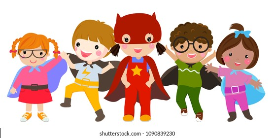 Super hero Kids with costumes set, Children costume characters isolated on white background, boy and girl,