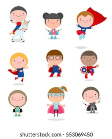 Super hero Kids with costumes set, Children costume characters isolated on white background, boy and girl, Vector Illustration