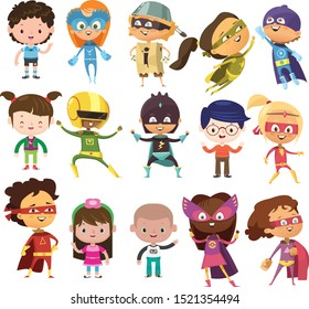 SUPER HERO KIDS VECTOR DRAWING SET