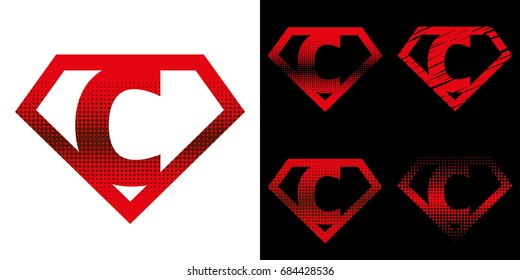 Super hero Logo Letter C Superhero Vector Alphabet