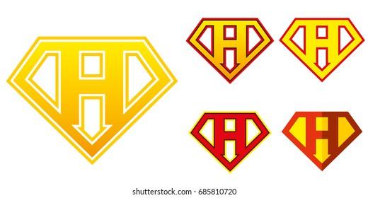 Super hero Logo Letter H Superhero Vector Alphabet