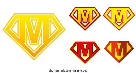 Super hero Logo Letter M Superhero Vector Alphabet