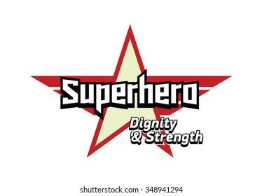 Super hero logotype. Cartoon style star logo. Vector illustration