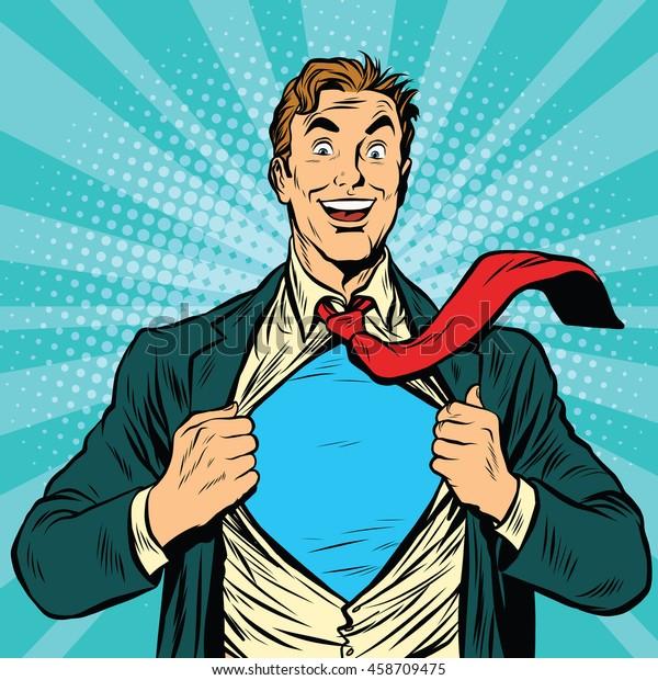 Superheld-Geschäftsmann Pop-Art-Retro, Vektorgrafik