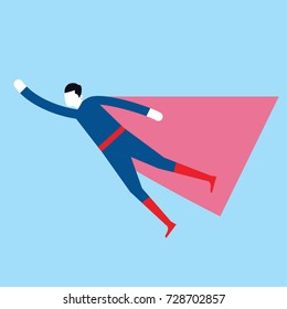 Super hero as a man wearing blue clothes and red cape. Superman Vector illustration.