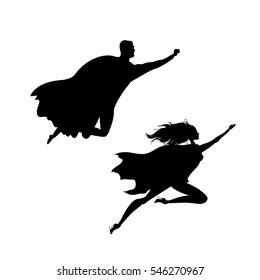 super hero man and woman  silhouette,isolated on white background,stock vector illustration,
