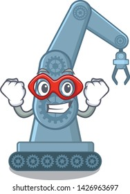 Super hero mechatronic robotic arm in mascot shape