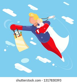 Super hero modern father flying sky clowds child in hand character design flat vector illustration