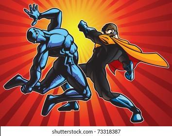 Super hero and a ninja doing battle.