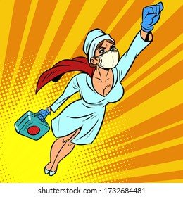 super hero nurse flying with a vaccine against the virus. Comics caricature pop art retro illustration drawing
