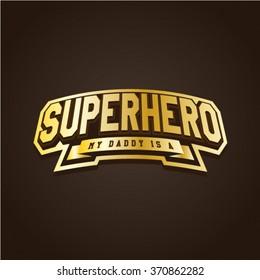Super hero power full typography, t-shirt graphics, vectors. Logo set. Luxury, royal metal