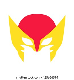 Super hero red mask for face character in flat style. Heroic or savior vector illustration. Photo props.