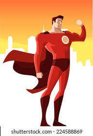 super hero showing his strength, vector illustration.