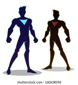 Super hero silhouette in different color, vector illustration
