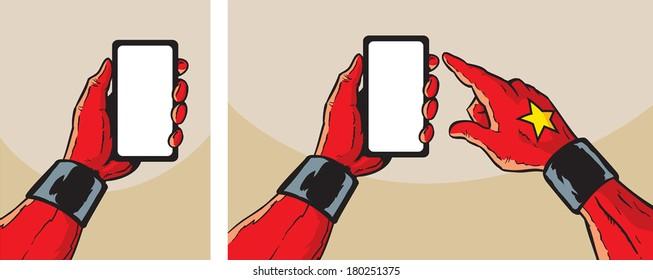 Super Hero with smartphone