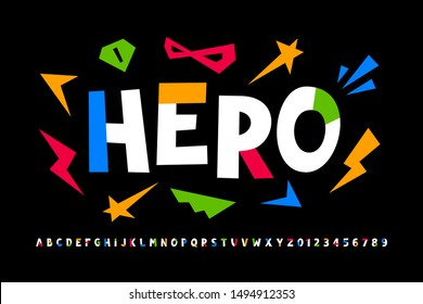 Super hero style font design, comics alphabet, letters and numbers, vector illustration