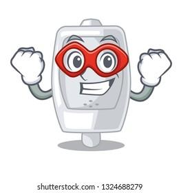 Super hero urinal in the a cartoon shape
