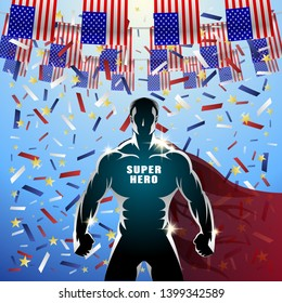 Super Hero USA Flags Holliday. Festive American flags and falling confetti. Muscular strong man in a cloak behind his back. Vector Illustration