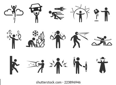 Super hero vector illustration icon set. Included the icons as invisibility, psychic, pyro, powerful, phenomenon, supernatural and more.