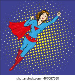 Super hero woman flying vector poster in comic retro pop art style.