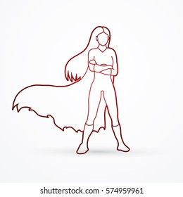 Super hero woman standing arms across the chest outline graphic vector.