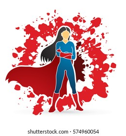 Super hero woman standing arms across the chest design on splatter blood background graphic vector.