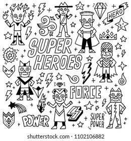 Super Heroes Funny Wacky Doodle Set 1. Black And White Drawing. Vector Illustration.