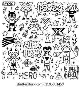 Super Heroes Funny Wacky Doodle Set 2. Black And White Drawing. Vector Illustration.