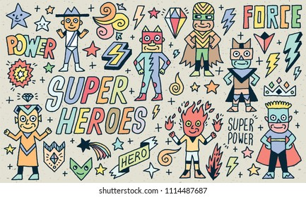 Super Heroes Funny Wacky Doodle Set 1. Color Drawing. Vector Illustration. Texture Background.