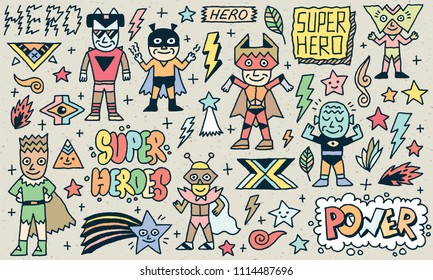 Super Heroes Funny Wacky Doodle Set 2. Color Drawing. Vector Illustration. Texture Background.