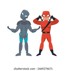 super heroes justice fighters partners comic retro cartoon vector illustration graphic design