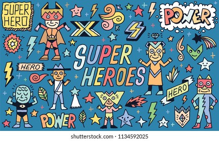Super Heroes Power Funny Wacky Doodle Set 2. Color Drawing. Vector Illustration.