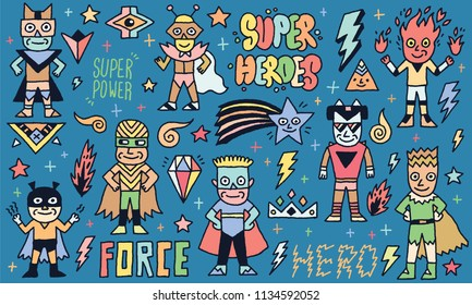 Super Heroes Power Funny Wacky Doodle Set 1. Color Drawing. Vector Illustration.
