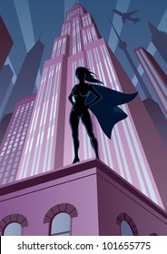 Super Heroine in City: Super heroine watching over the city. No transparency used. Basic (linear) gradients. A4 proportions.