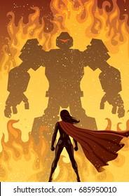 Super heroine facing giant evil robot.