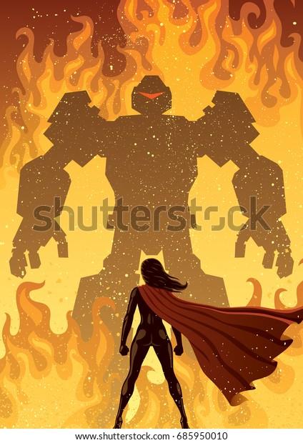 巨大な悪のロボットに向かうスーパーヒロイン。