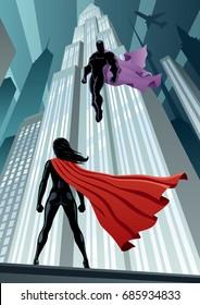 Super heroine facing supervillain.