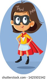Super Heroine Girl Vector Illustration Cartoon. Little lady with superpowers flying with magic cape