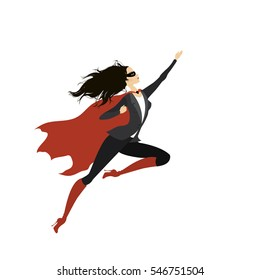 Super heroine with mask,isolated on white background,vector illustration