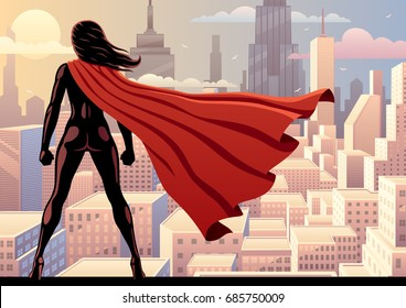 Super heroine watching over city.
