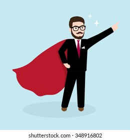 Super Hipster Businessman, Super Hero Concept