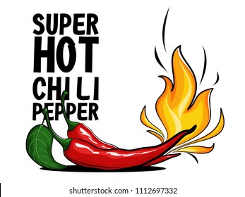 Super hot red chilli pepper in fire. Chili peppers in flame. Vector illustration. Hot spices. Black text.