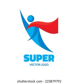 Super - human character logo template concept illustration. Abstract people flying man. Hero sign. Design element.