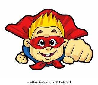 super kid logo icon vector character illustration