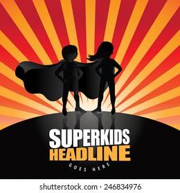 Super kids burst EPS 10 vector royalty free stock illustration
