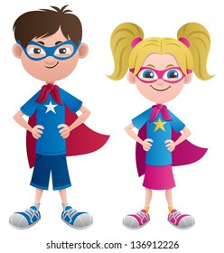 Super Kids: Illustration of 2 super kids: Super boy and super girl. No transparency used. Basic (linear) gradients.